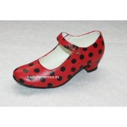 Zapato Adulto Rojo con lunar negro