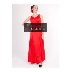 Vestido de Flamenca Liso de Tirantes de Godets